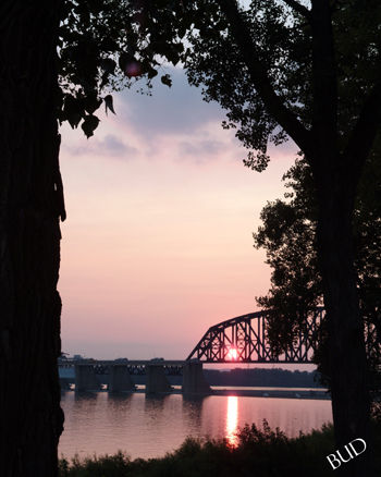 Fall of the Ohio at Sunset --
